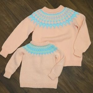 Vintage handmade crocheted matching sweater set